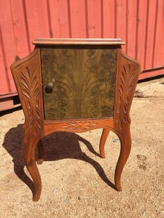 Vintage End Table Cabinet Magazine Rack