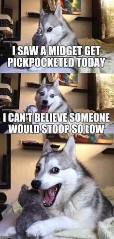 Bad Pun Dog | I SAW A MIDGET GET PICKPOCKETED TODAY I CAN'T BELIEVE SOMEONE WOULD STOOP SO LOW | image tagged in memes,bad pun dog | made w/ Imgflip meme maker