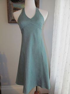 ANN TAYLOR LOFT Solid Cyan (Bluish-Green) Empire Waist Linen Blend Dress Sz 4P  #AnnTaylorLOFT #EmpireWaist #Casual