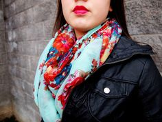 obsessed with this scarf—especially with this lip color!