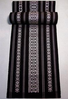 Japanese 1960's Vintage Silk Textile(29.5cm x 373cm), Black and Silver, Geometrical pattern, Hakataori, Obi sash,