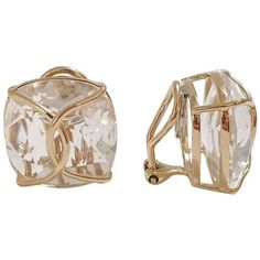 Jumbo Rock Crystal Cushion Stud Earring With Yellow Gold Wire Wrap ($3,000) ❤ liked on Polyvore featuring jewelry, earrings, stud earrings, yellow, gold jewellery, yellow earrings, wire wrapped earrings and gold jewelry