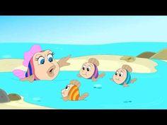 vier kleinen visjes zwommen naar de zee maar worden dan op gegeten