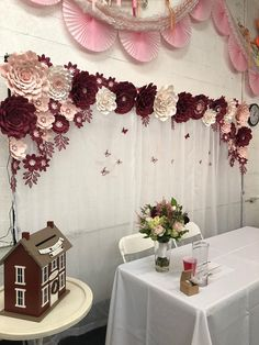 Adult Party Decorations Burgundy Blush Paper Flower Set Backdrop Backdrops Wedding 14th Birthday