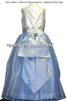Winter custom holiday flower girl dress in blue and silver with snowflake trim