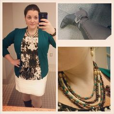 #ChubbyChique 11-24-2014 #ootd #WinterWhite White pencil skirt and turquoise cardigan by #ExpressFashion , snake print peplum top by eci found at #TJMaxx , cream sweater tights by #Merona from #Target #TargetStyle , brown low heeled boots, wood and turquoise stone necklace and earrings from #Dazzley