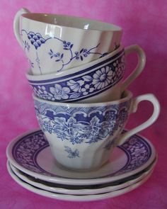 Blue and White Tea Cups from England ~ Mary Wald's Vintage Place