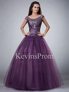 Dropped Waist Purple Long Beaded Tulle Poofy Cap Sleeve Prom Gowns - Style KP2006 - Kevins Prom