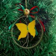 Holiday Decor,Butterfly Ornament, Christmas Tree Decoration, Unique Tree Ornament,yellow,watercolour, energy,wings, plexiglass,art print,zen