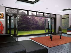 extension - Contemporary orangery with glass doors