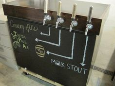 Like the chalk board front to this kegerator. Black paint/wood stain looks good too and the rolling base. Beer Keg, Beer Taps, Fridge Makeover, Beer Fridge, Brewing Equipment, Man Cave Home Bar, Home Brewing Beer, Brew Pub, Tap Room