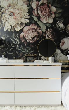 DIY - Ikea Hack, Customize and Glamorize a Malm dresser with gold contact paper ~bedroom Ikea Hack Gold, Ikea Dresser Hack, Ikea Malm Desk, Ikea Malm Drawers, Dresser Makeovers, Hacks Ikea, Gold Contact Paper, New Swedish Design, Ikea Furniture