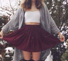 cute for fall - high socks, skirt, cropped tank, and chunky sweater