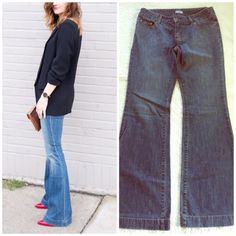 Halogen Flare Jeans from Nordstroms Halogen jeans purchased at nordstroms. These have a 9 inch rise & 32 inch inseam. Some slight fraying at bottom hems. Left side of first image is styling suggestion only and not actual jeans for sale. Halogen Jeans Flare & Wide Leg