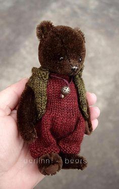 Cookie, Miniature Dark Brown Mohair Artist Teddy Bear from Aerlinn Bears