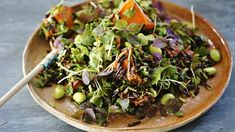 Roast pumpkin, wild rice and edamame salad with ginger, miso and sesame dressing