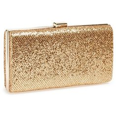 Women's Natasha Couture 'Sparkle' Box Clutch (925 MXN) ❤ liked on Polyvore featuring bags, handbags, clutches, purses, bolsas, clutches / wallets / purses, chain strap purse, hard clutch, sparkly purses and beige handbags