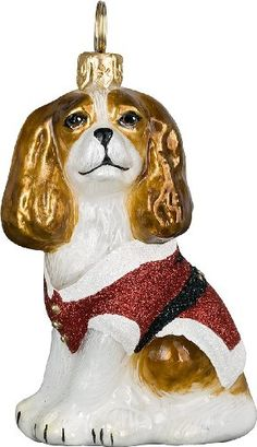 The Pet Set Diva Dog Blown Glass European Dog Ornament by Joy to the World Collectibes - Blenheim Cavalier King Charles Spaniel with Santa Jacket
