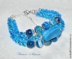 """Браслет """"Голубая лагуна"""" - голубой,многорядный браслет,браслет из бисера"""