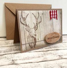 Glückwunschkarten - Hirsch-Glückwunschkarte für Jäger mit Holzscheibe - ein…