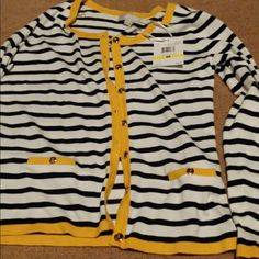 New cardigan!!! Blue and white stripes with yellow trimming! Super comfy, stretchy! ?? will trade! Sweaters Cardigans