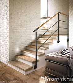 Tile flooring takes a stand in high traffic areas Stairs Makeover areas FLOORING High Stand takes Tile traffic Staircase Railings, Wood Stairs, Basement Stairs, House Stairs, Wood Handrail, Bannister, Interior Stairs, Home Interior Design, Interior Architecture