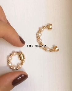 These dainty ear cuffs are magnetic and are designed to be worn on both the lobes and the conch. See more at 💛 Concerto Pearl and Bead Cuff Ear Jewelry, Jewelry Bracelets, Jewelery, Jewelry Accessories, Jewelry Design, Helix Earrings, Cross Earrings, Clip On Earrings, Cuff Earrings