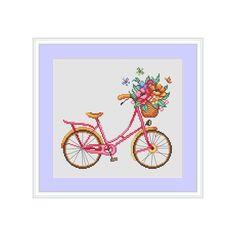 Summer bike cross stitch pattern modern cross stitch pattern