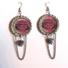 Día de Muertos Earrings Skelton Lady in Hat by SeagoddessEclectica, $18.00
