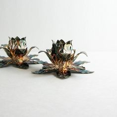 Silver Plated Candlesticks Rose Floral Patina.