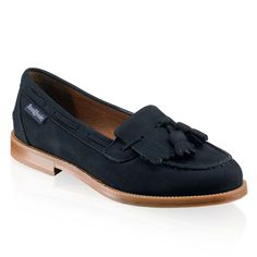 Chester Tassel Loafer, Navy Blue Suede - Russell and Bromley