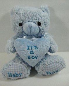 "Blue IT'S A BOY BEAR Baby Soft Plush Stuffed Toy 9"" Star Gifts B271"