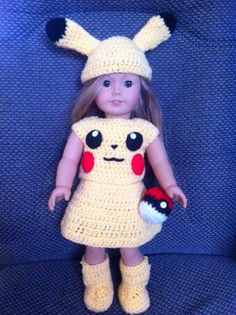 Pikachu Power. American Girl, 18 Inch Doll Pokemon Cosplay Clothes Outfit with Pokeball