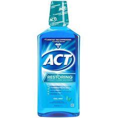 ACT Restoring Anticavity Fluroide Mouthwash Cool Mint, 33.8 oz, Multicolor