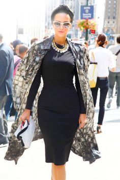 Noor Al Sabah in a Thakoon dress and Lanvin jacket #streetstyle #NYFW