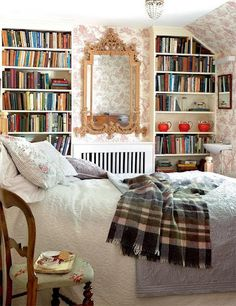 inviting English bedroom with books. How I want this room! Library Bedroom, Cozy Bedroom, Dream Bedroom, Winter Bedroom, Bedroom Ideas, Bedroom Bed, Bedroom Decor, Bed Room, Coziest Bedroom