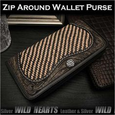100% Handmade! Well-made by leather craftsmen by hand !   Genuine Leather Braided Mesh & Carved Zip Around Wallet Clutch Purse Unisex WILD HEARTS Leather&Silver (ID rlw3307) http://global.rakuten.com/en/store/auc-wildhearts/item/rlw3307/