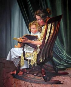 Mother daughter book and rocking chair
