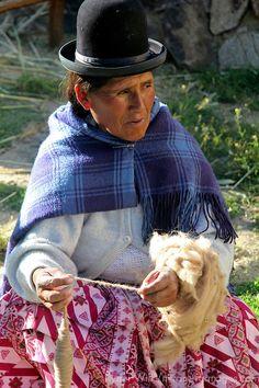 Weaver of Bolivia Spinning Yarn