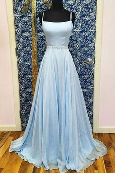 Baby Blue Satin Chiffon Beaded Waistline Long Prom Dress from Sweetheart Dress Handmade+item Materials:+Tulle,+satin,+beading Made+to+order Color:+Refer+to+image Fabric:+Tulle,+satin. Winter Formal Dresses, Blue Evening Dresses, Prom Dresses Blue, Prom Party Dresses, Chiffon Dresses, Dance Dresses, Fall Dresses, Long Dresses, Bridesmaid Dresses