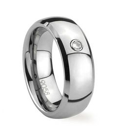 Followbest.com - Mens Bevel Dome Titanium Ring with Zircon