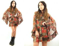 Vtg 70s Rust Brown Patchwork Empire Bell Sleeve Floral Boho Mini Dress