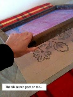 """SMART way to screen print when you don't have photo emulsion but have ya screen. Cut out """"stencil"""" of sorts from think paper, put between screen and shirt, and TADA! Now I can screen print awesome things over break. :"""")"""