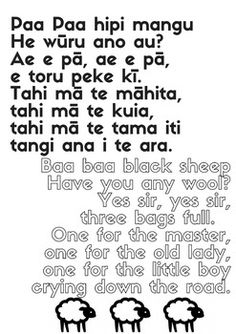 Nursery rhymes and songs - Bilingual posters in Maori and English Rhyming Activities, Preschool Songs, Kids Songs, Music Nursery, Nursery Rhymes, Rhymes For Kids, Math For Kids, Maori Songs, Maori Symbols