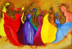 I'm not sure who painted this one but its from here.  http://chimac.net/2012/01/08/colorful-painting-of-dancers/