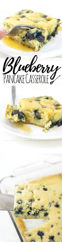 Blueberry Pancake Casserole recipe for those entertaining a crowd. Best brunch recipe ever. Whisk together in a bowl, pour into a 9x13 pan and bake! It is that easy, not to mention a much healthier option! (Gluten Free, Dairy Free, Low Sugar )