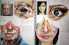 At its essence, a sketchbook page should provide insight into a student's ideas and intentions, as well as revealing the influence of other artists. This A Level Art sketchbook page is beautiful in its simplicity: devoid of all superfluous decoration, it shows a dedicated and committed student learning a technique from an artist and then carefully applying this to original artwork.