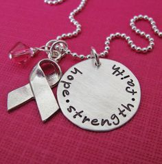 breast cancer awareness charm necklace - customize with your text
