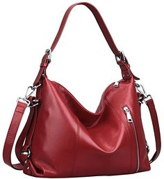 79.89 Heshe Fashion Women Ladies Cow Leather Tote Shoulder Bag Cross Body Satchel Top-handle Multifunction Handbag Hot Sell (Wine-R) HESHE