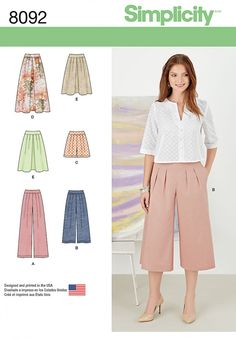 Stay on trend with the most desired bottom of the season. This pattern includes pleated skirt in two lengths, and trousers, #culottes or shorts, all with side zip. #simplicity #pattern #8092